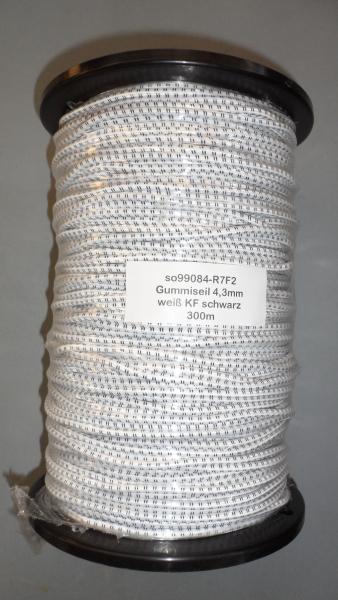 Gummiseil 4,3mm, weiß KF schwarz