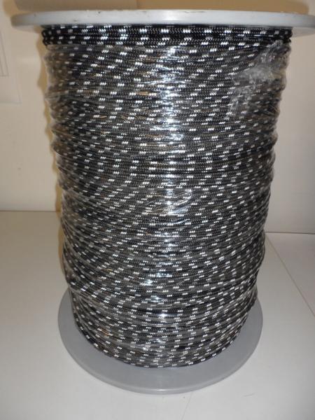 PES-Flechtschnur ø6mm, schwarz KF weiß